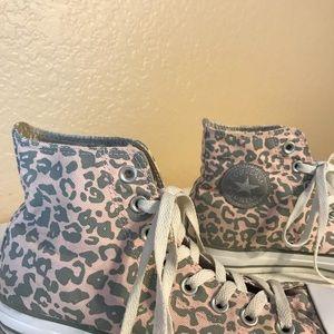 High Top Converse Pink & Gray Leopard Print